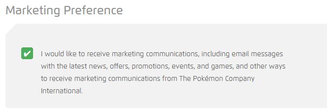 Marketing Preference Pokémon Trainer Club Conta Existente
