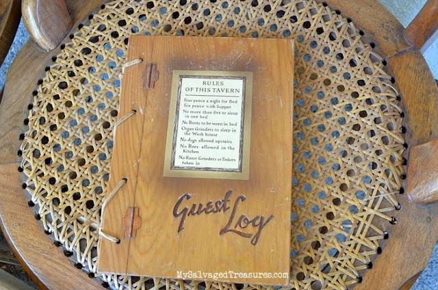 wooden vintage guest log