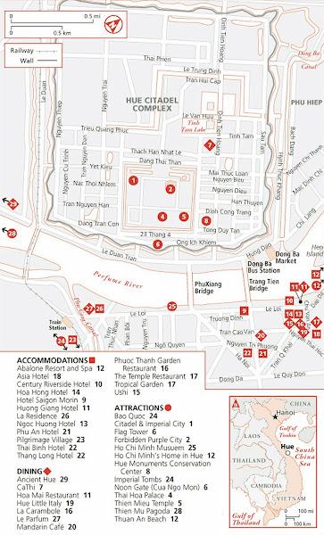 Mapa Ciudadela Hue (Mapa Turístico Ciudad Imperial Hue)