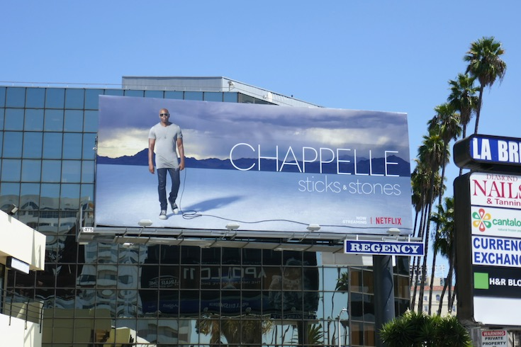 Chappelle Sticks Stones standup billboard
