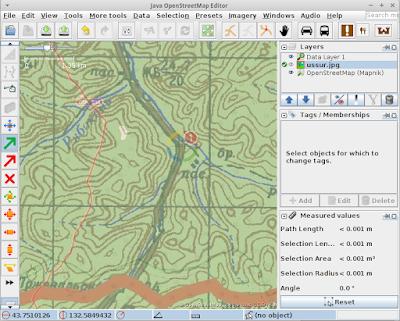 Выделение точки на карте в PicLayer (JOSM), перед ее перетягиванием.