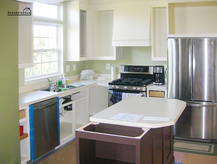 kitchen makeover on a budget with painted cabinets and island makeover