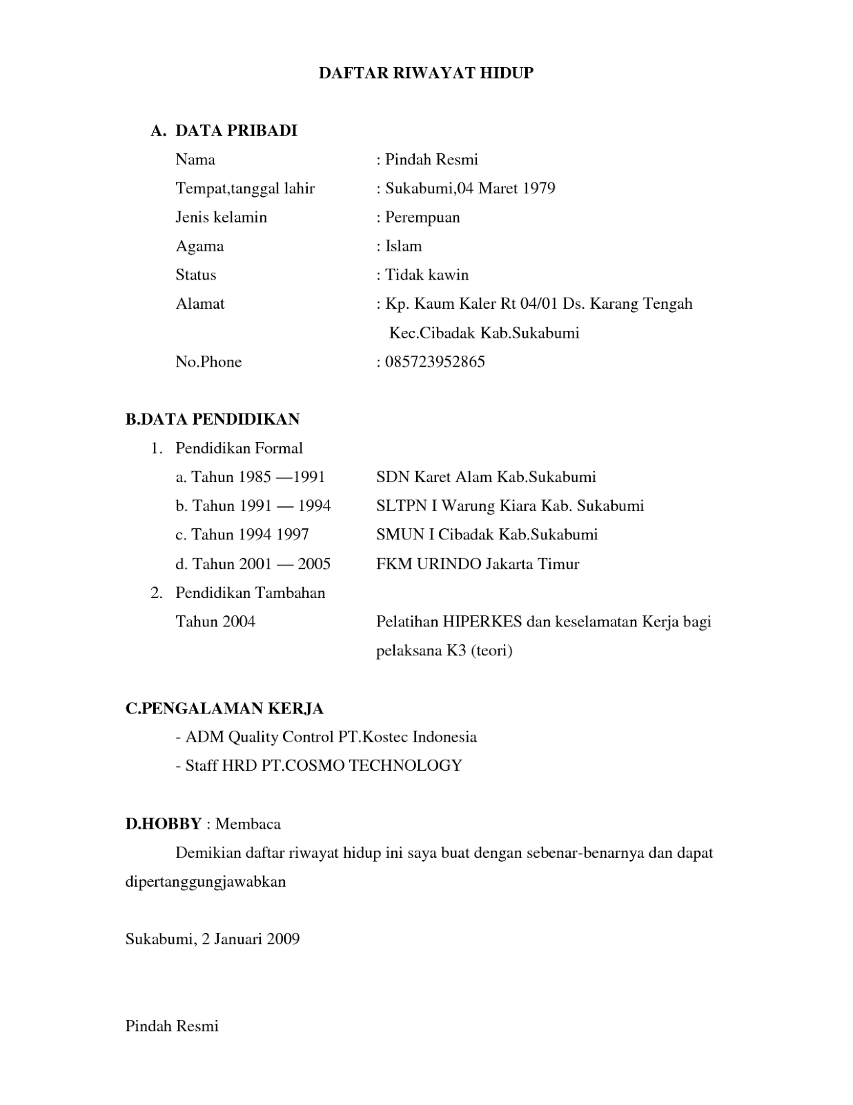 Contoh Daftar Riwayat Hidup Terbaru 2012 Cv Nabila