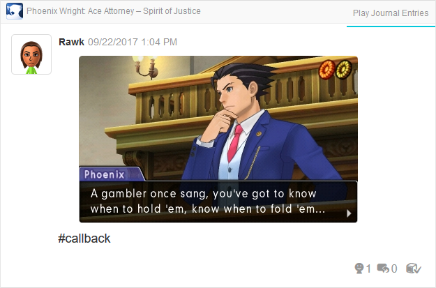 Phoenix Wright Ace Attorney Spirit of Justice gambler song hold fold 'em