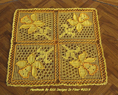 Daffodil Bouquet Square Doily - Spring Yellow Floral Design - Handmade Crochet By Ruth Sandra Sperling of RSS Designs In Fiber