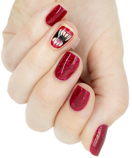halloween teeth nail art