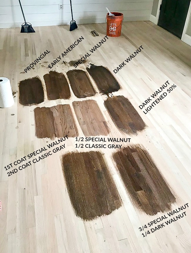 Minwax stain samples on red oak hardwood floors
