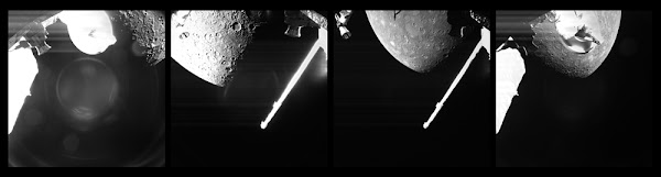 These snapshots of planet Mercury were taken by a camera aboard BepiColombo's Mercury Transfer Module...on October 1, 2021.