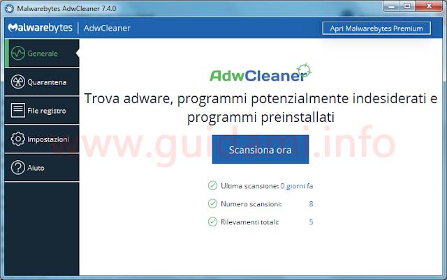 AdwCleaner interfaccia grafica schermata iniziale della versione 7.4.0