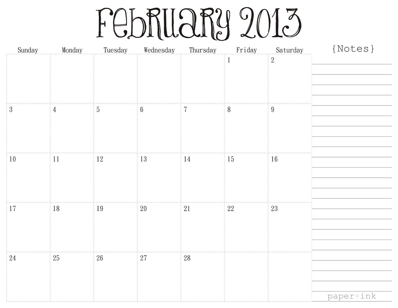 Free Printable Calendars February