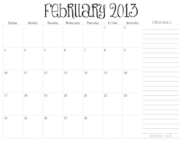 Free Printable Calendars: February 2013