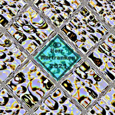 """Bild quadratisch. Angedeutet einige Felder (Rauten) eines Maschendrahtzaunes. Durch diese """"Maschen"""" erkennt man mit einiger Fantasie, Fragmente von Kugeln. Das ganze ist sehr fragmentarisch gemalt und per Graphikprogramm verfremdet."""