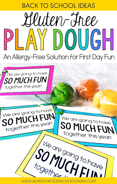 I love to use play dough for my first activity on the first day of school! But did you know that some students with a gluten-allergy can break out in hives from merely touching play dough? For this reason, I started to make gluten-free play dough! This recipe for gluten-free play dough is super simple to make!