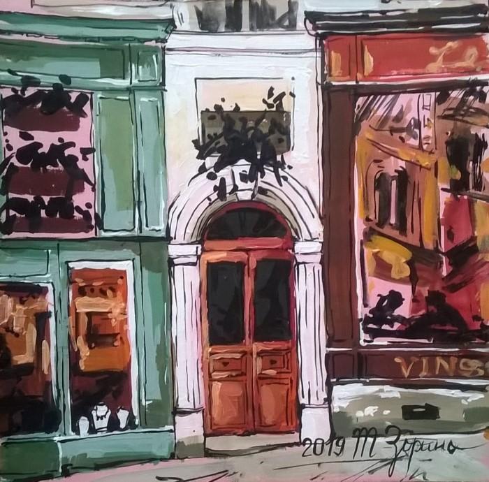 Улочки Парижа. В кафе.19х19
