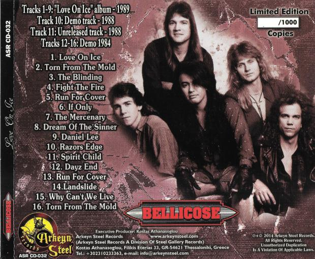 BELLICOSE - Love On Ice [Digitally Remastered +7] back
