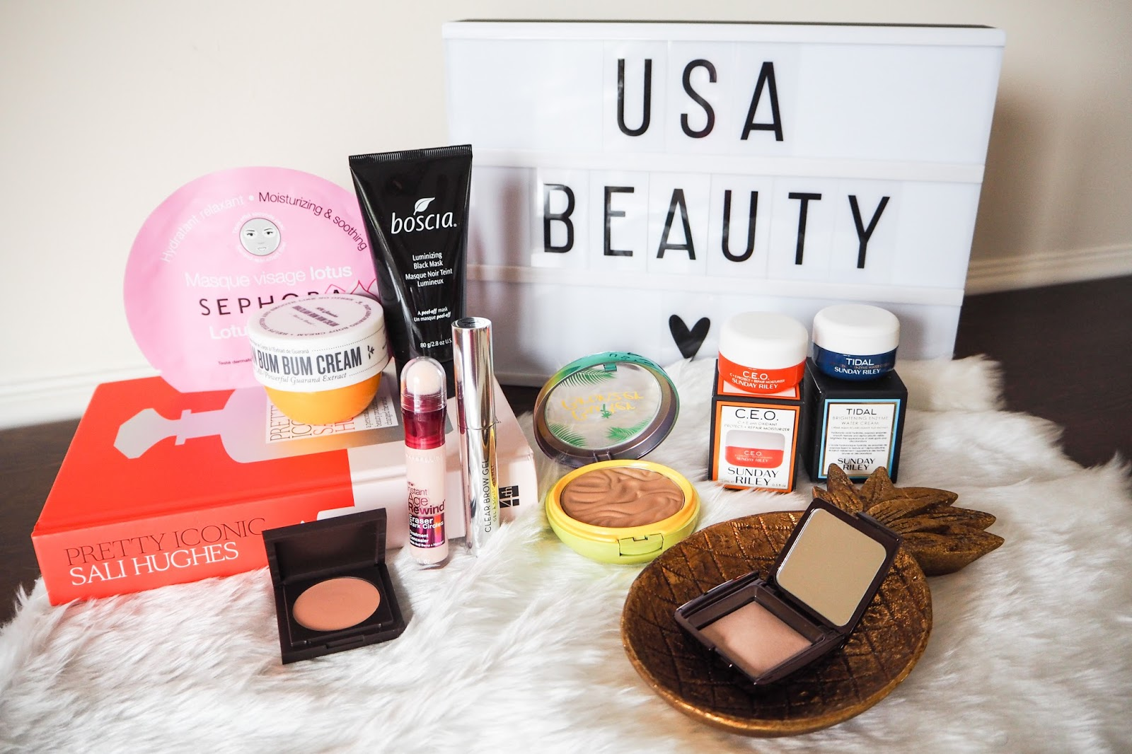 American beauty product haul lined up