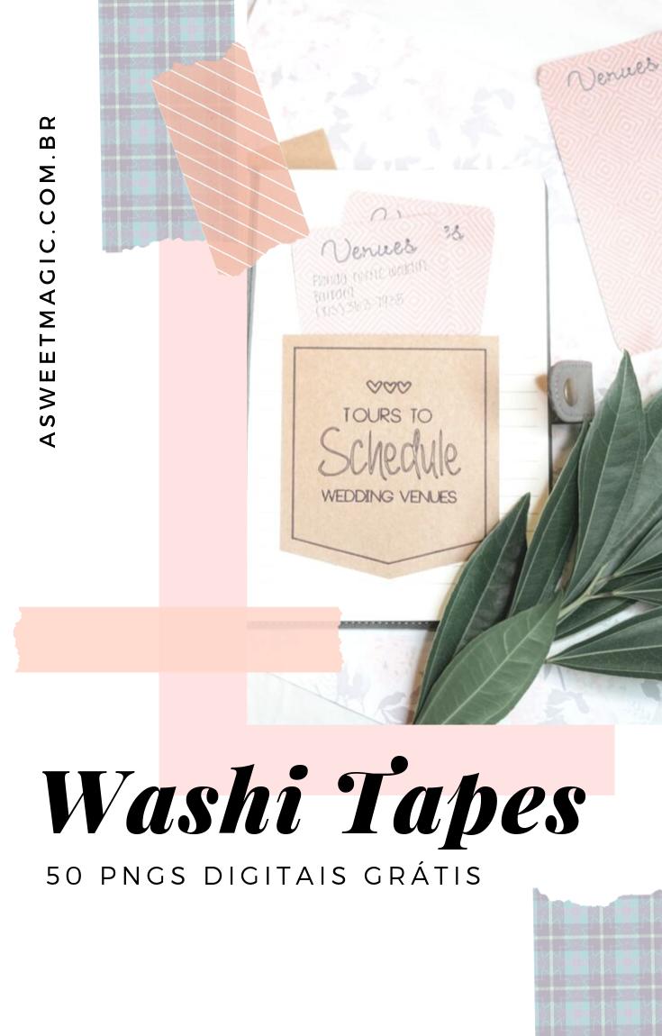 +50 Modelos Washi Tapes digitais em PNG