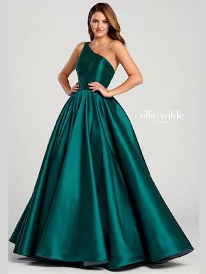 Ellie Wilde One-shoulder ball Gown emerald prom dress