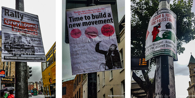 Convocações para manifestações políticas nas ruas de Dublin, Irlanda