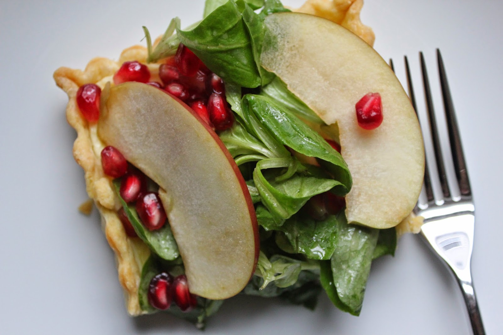 Goat Cheese Tart With Pomegranate And Mâche