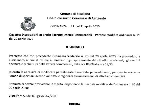 Comune di Siculiana - ordinanza sindacale n. 21 del 21 aprile 2020