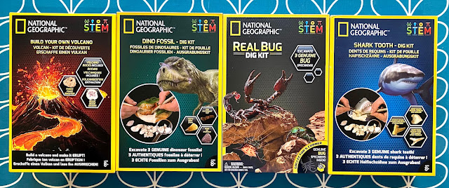Giveaway prize of build your own volcano and 3 dig kits