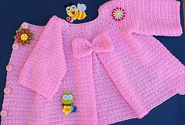 2 - Crochet Imagenes Abrigo rosa a crocher y ganchillo muy fácil y sencillo , lindo por Majovel Crochet