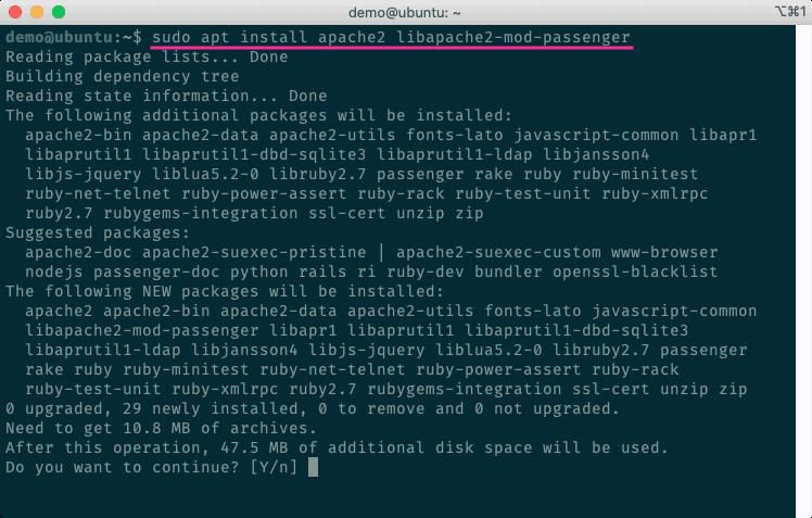 安裝Apache2、Passenger套件