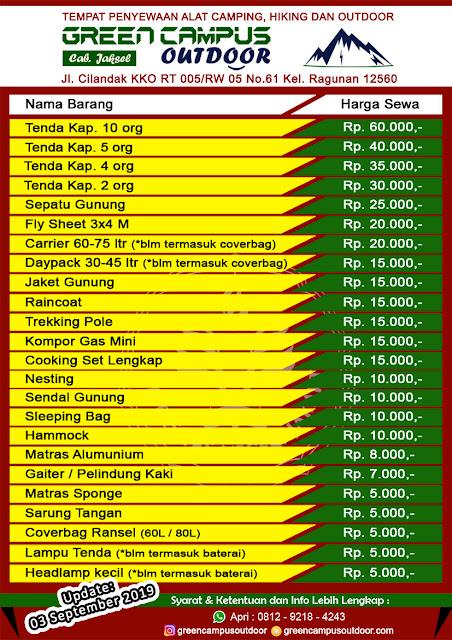Sewa Alat Outdoor Gunung Hiking Camping di Jakarta Selatan dengan harga terjangkau respon cepat syarat mudah
