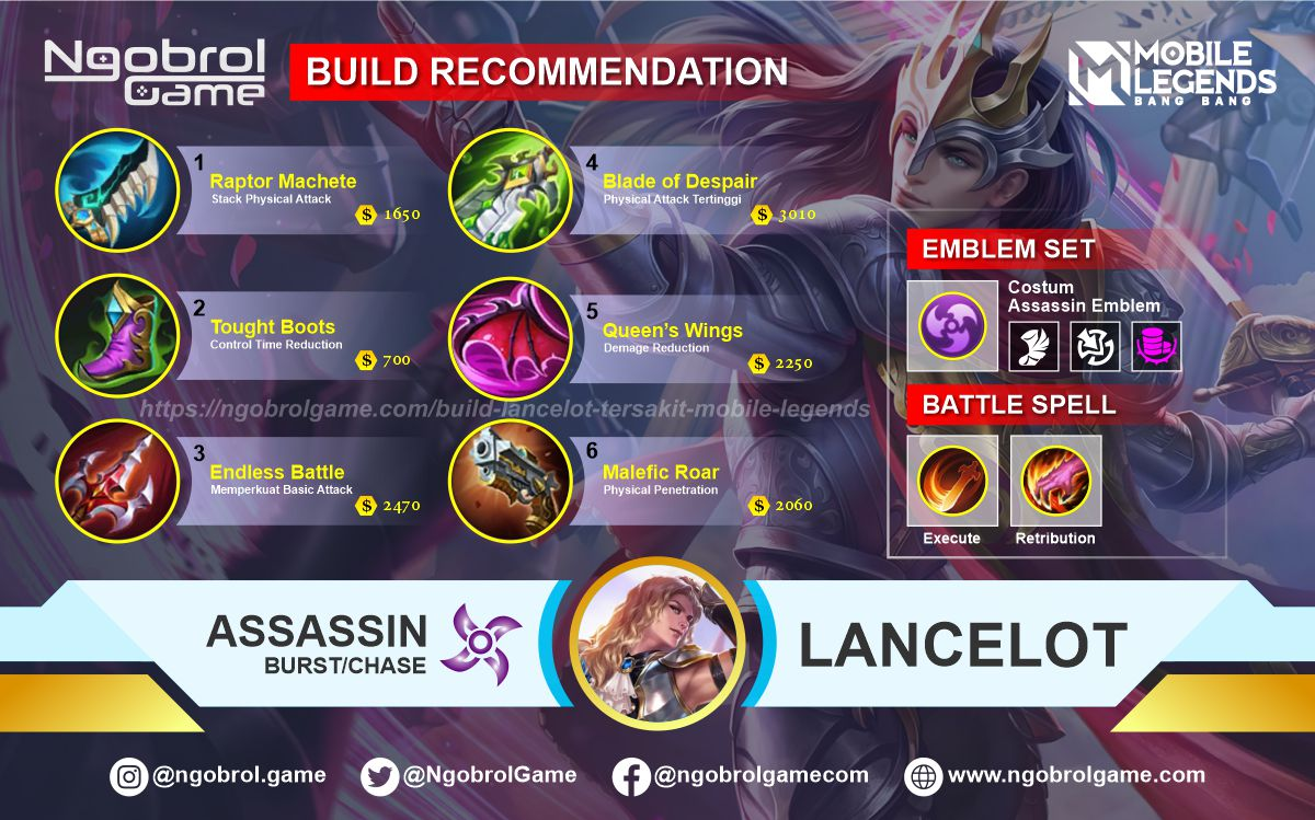 Build Lancelot Tersakit 2021 Mobile Legends