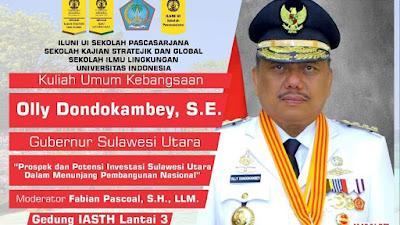Jumat Besok, Gubernur Olly Beri Kuliah Umum Kebangsaan di Universitas Indonesia