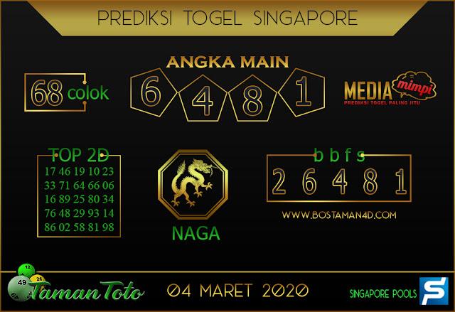Prediksi Togel SINGAPORE TAMAN TOTO 04 MARET 2020