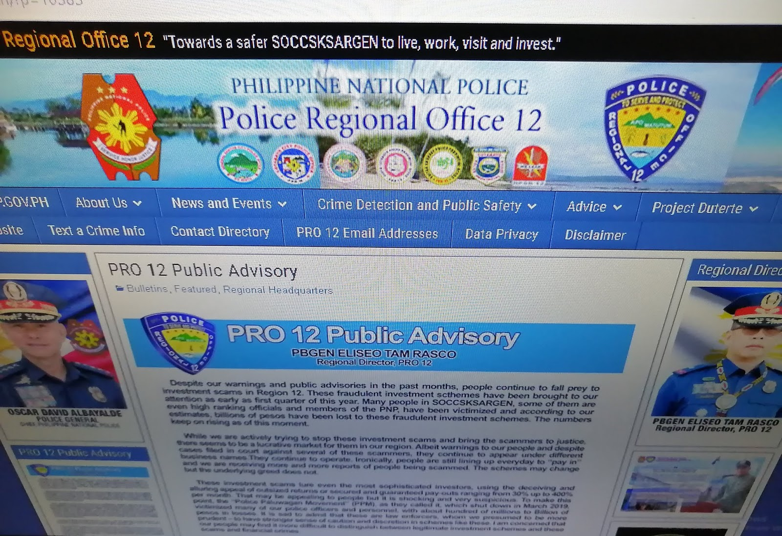 Police Regional Office 12 issues Public Advisory on Proliferation of Alleged Fraudulent Investment Schemes