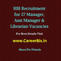 RBI Recruitment for 27 Manager, Asst Manager & Librarian Vacancies