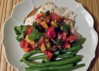 Salsa on top of Roast Chicken, green beans on side