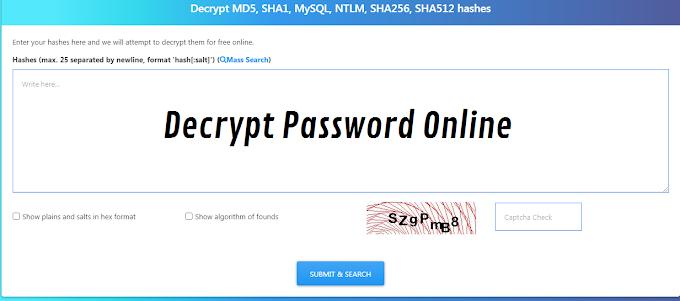 Situs Decrypt MD4 MD5 SHA1 SHA256 SHA512 MySQL Phpass ROT13 Free Online Tools