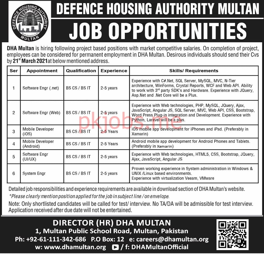 Latest Defence Housing Authority Engineering Posts 2021