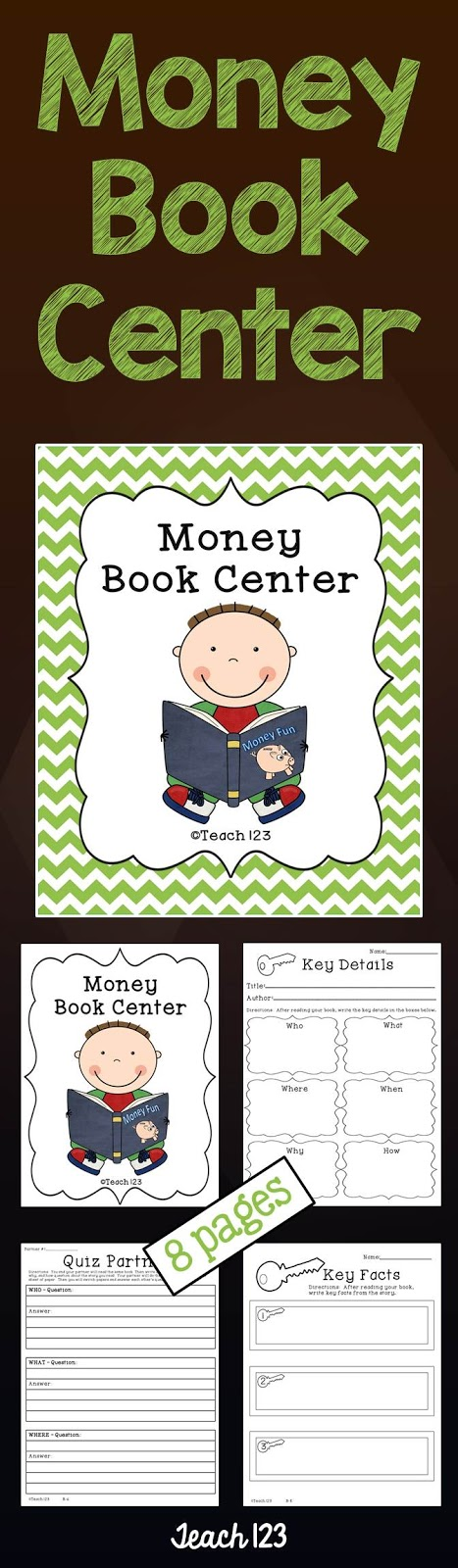Teach 123 Money Book Center at TeachersPayTeachers