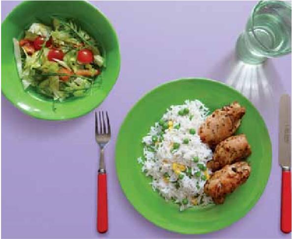 Chicken piri piri with savory rice and salad recipe