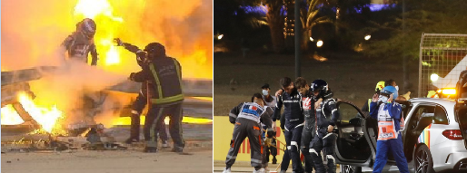 F1 Driver, Romain Grosjean Comes Out Alive After His Car Went Up In Flames And Broke Into Half In Horror Crash (Photos/video)