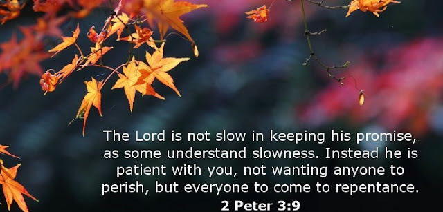 The Lord is not slow in keeping his promise, as some understand slowness. He is patient with you, not wanting anyone to perish, but everyone to come to repentance.