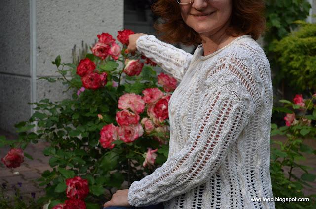 sweter ażur Muskat Drops, róża Monaco