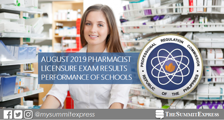PERFORMANCE OF SCHOOLS: August 2019 Pharmacist board exam results