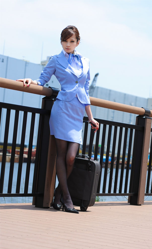Japanese Ameri Inchinose Flight Stewardess Black Stockings