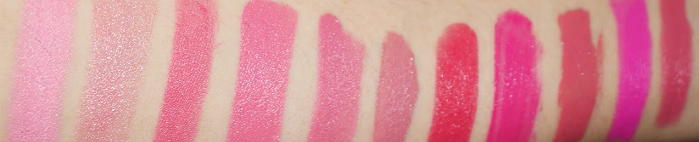 Pink Lipsticks Swatches, With Flash