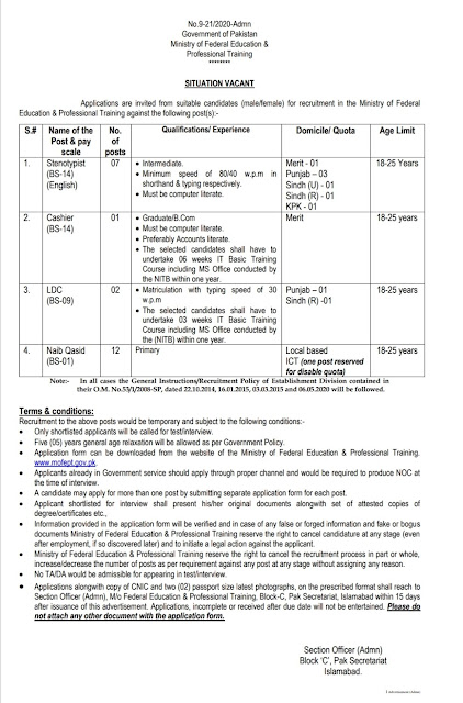 Ministry of Federal Education & Professional Training Management Jobs 2020