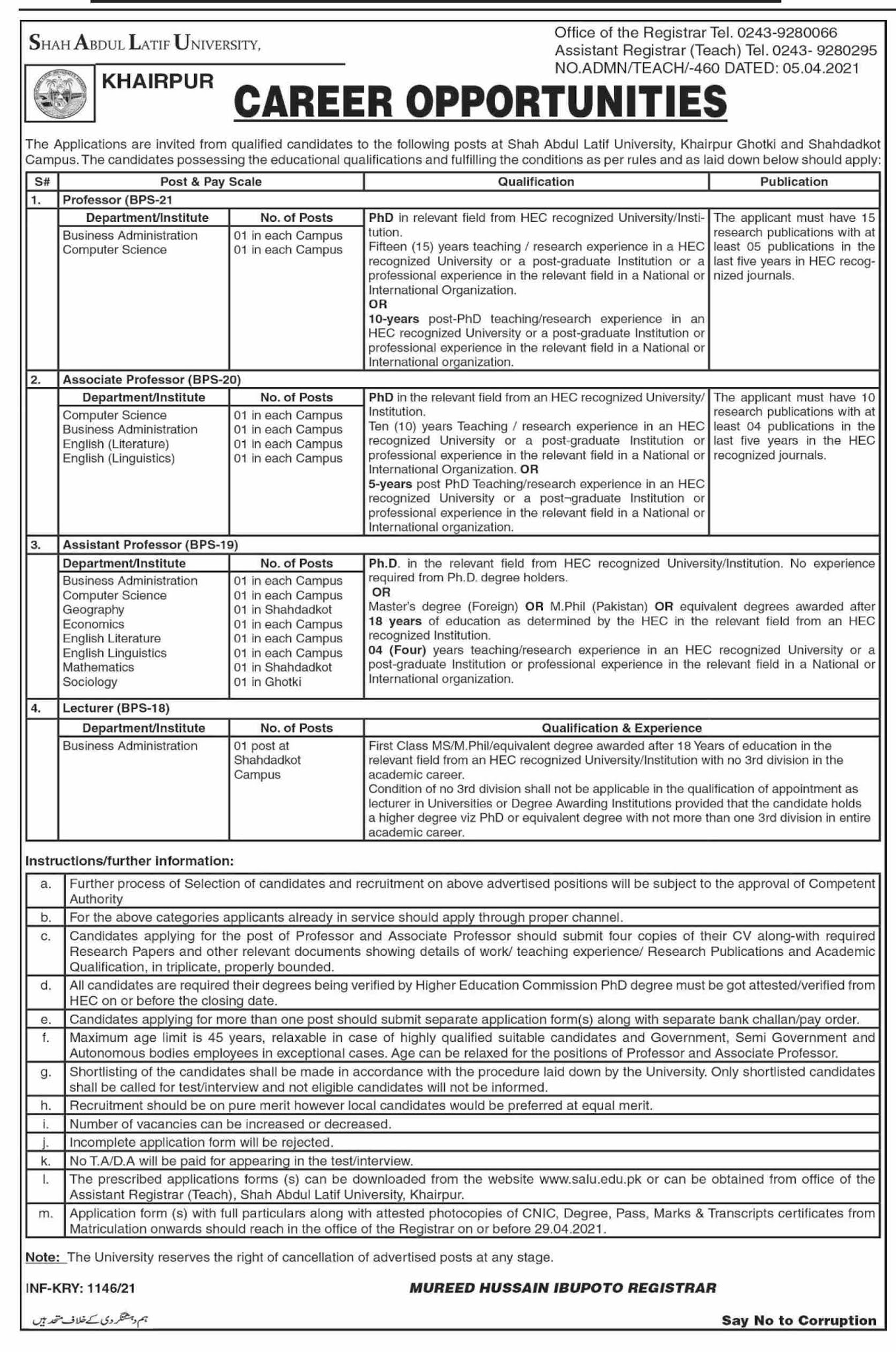 Shah Abdul Latif University Khairpur Teaching Jobs 2021 Advertisement
