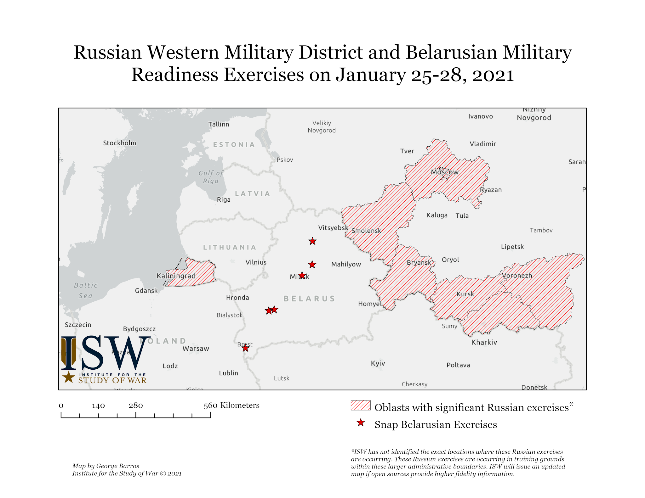 Belarus Warning Update: Moscow and Minsk Hold Simultaneous Combat Readiness Exercises in Kaliningrad, Mainland Russia, and Belarus