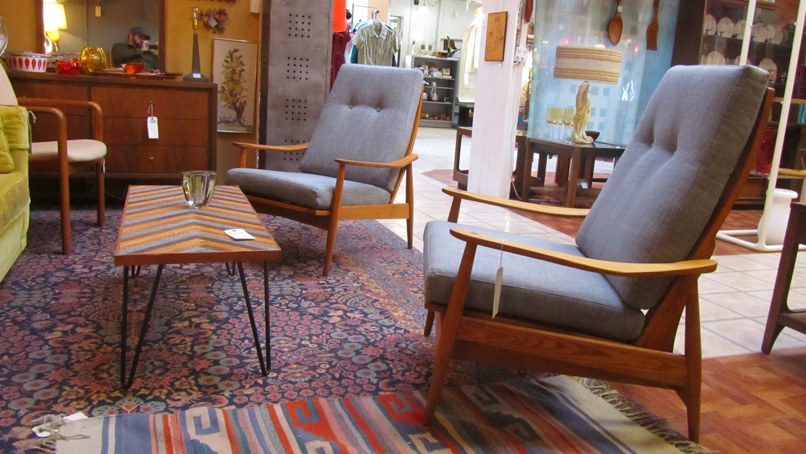 Reupholstered Mid Century Lounge Chairs