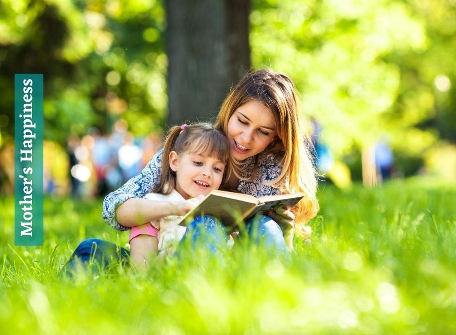 Cute Daughter and Mother Reading